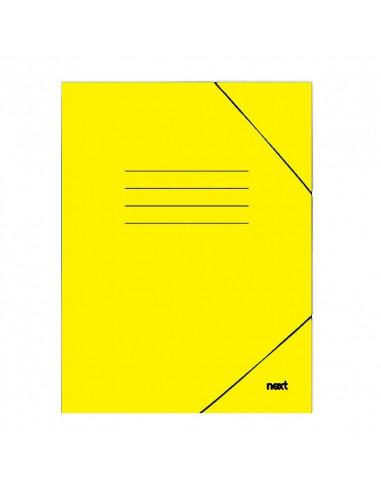 Next φάκελος με λάστιχο πλαστικοποιημένος κίτρινος Υ35x25εκ.