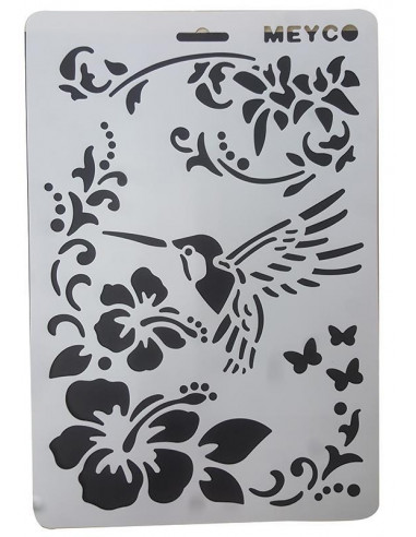 Στένσιλ απο πολυπροπυλένιο Α4 άνθη-πουλί