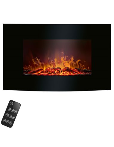 EK 6024 CB Electric fireplace black with curved glass front