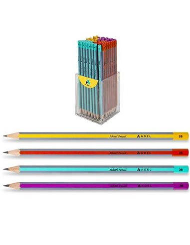 "Adel μολύβι ""School"" 2Β κοκτέηλ 4 χρώματα"